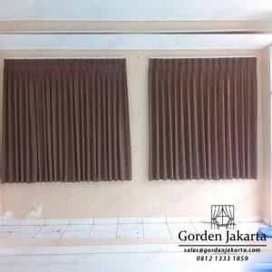 bahan gorden jendela kecil monash coklat pasang di Ciledug Q3957