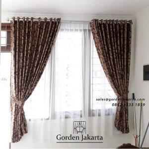 Gorden semi blackout minimalis dengan motif floris ID4314